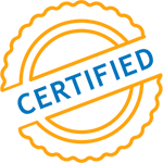 Icon of a yellow award ribbon with certified written across it